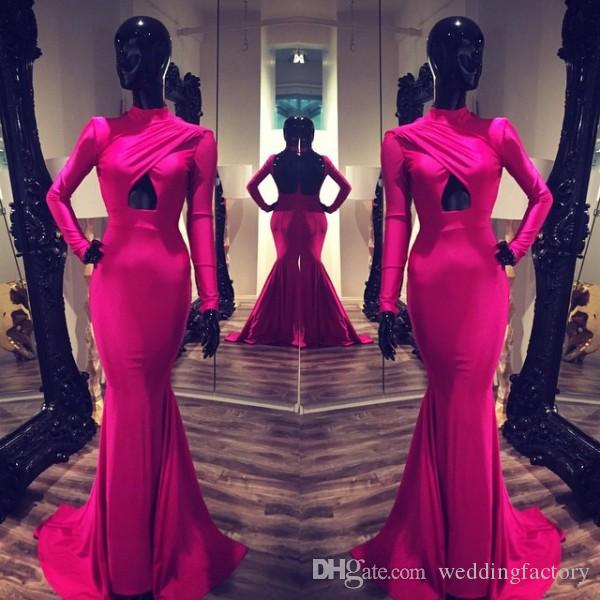 Michael Costello Sexy Abendkleider Long Sleeves High Neck Celebrity Fitted Kleider Ausschnitt Backless Formal Prom Kleid Fuchsia Burgund 2015