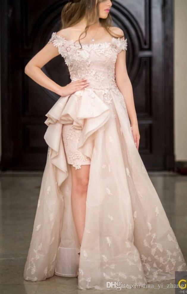 Robes De Bal Rose Pâle 2016 Couples De La Mode De L'épaule Salut Jupe Appliques De Dentelle De Guipure Avec Des Volants Côté Tulle Robes 2k15