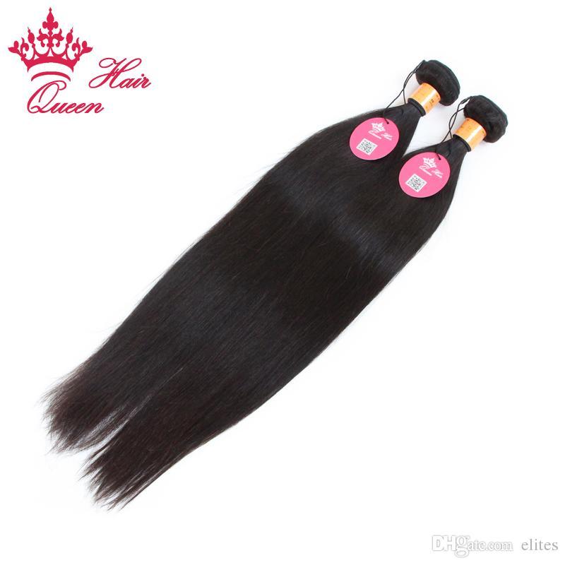Королева волос индийская девственница прямые человеческие волосы машина уток бесплатная доставка лучшее качество