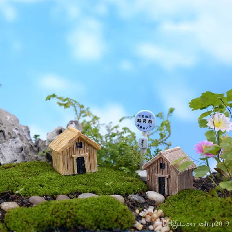Miniature Resin Wooden House Handicraft Moss Terrarium Micro Landscape Assembled Small Decoration Toys Fairy Garden Bonsai Craft DIY
