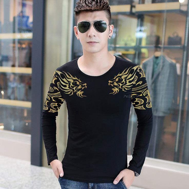 New Long Sleeve T Shirts For Men Korean Slim Funny T Shirts Street