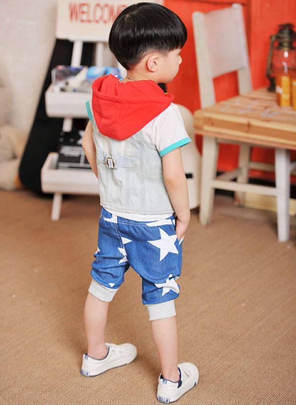 In Stock 2016 Summer Kids Shorts Baby Children Boys White Star Denim Shorts Kids Clothing Size100-140