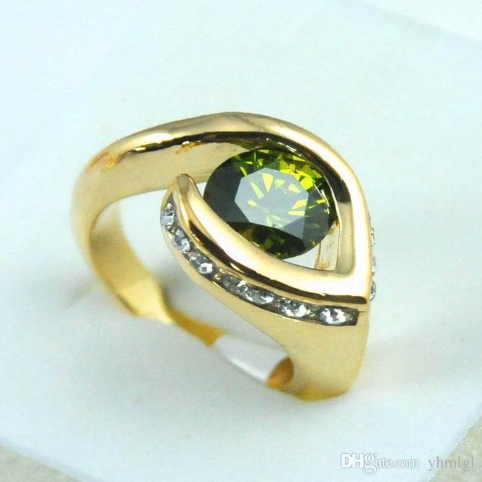1個最新のハート型のファッション14Kゴールドメッキラウンドジルコンカットクリスタルウーマンリングギフト結婚指輪