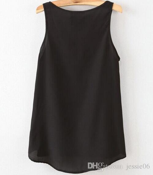Kadın şifon Tops Tees sırf Bluz Gömlek moda seksi bayan düz renk deri cep yelek artı boyutu yaz plaj giyim hediye