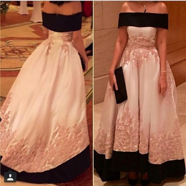Black and White Arabic Hi Lo Prom Dresses 2015 Robe De Soiree Off Shoulder Appliques Short Sleeve Dubai Pakistani Party Formal Evening Gowns