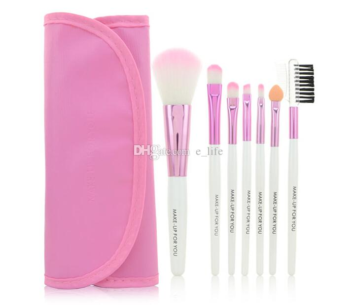 Gratis DHL Profesional 7 piezas pinceles de Pinceles de Maquillaje Set tools Kit de Tocador de Maquillaje Marca de Maquillaje Pincel Conjunto Caso PY