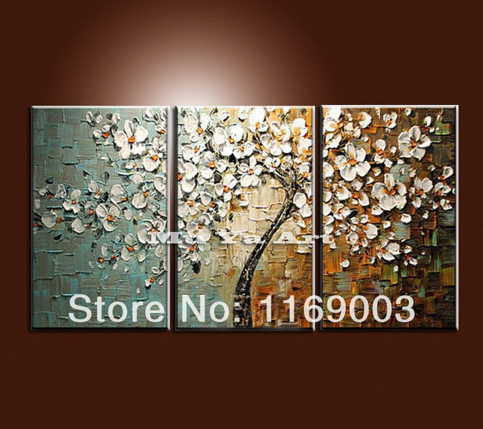 2018 Large 3 Panel Wall Art Abstract White Flower Tree Of