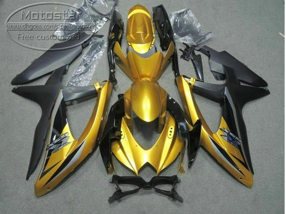 High quality bodywork set for SUZUKI GSXR750 GSXR600 2008-2010 K8 fairings K9 GSX-R600/750 08 09 10 matte black golden fairing kit KS67