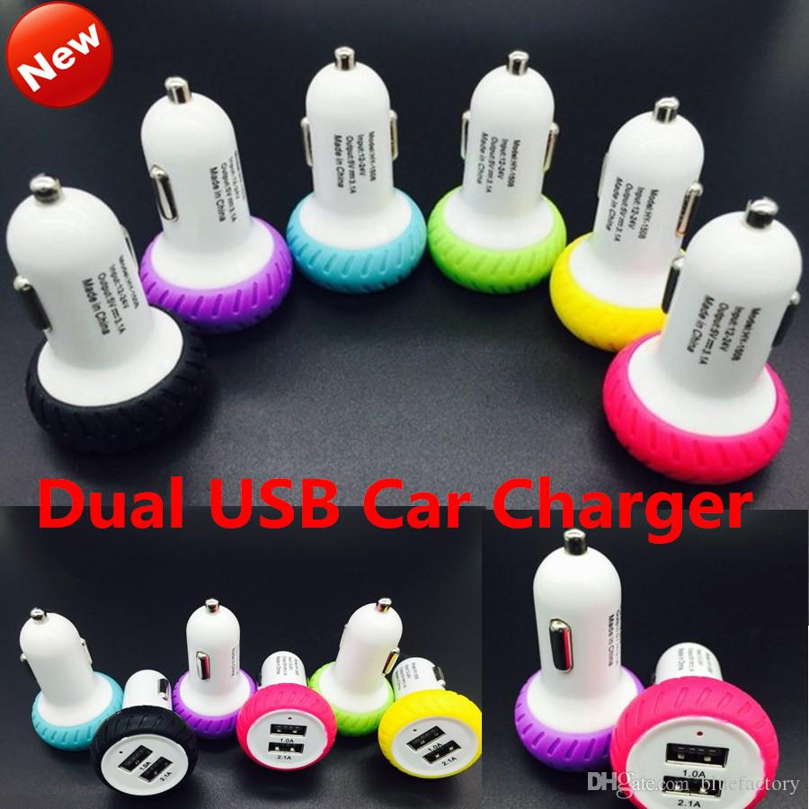 Mini Tire Dual USB Car Charger Adapter Bullet Double USB 2-Port for iphone 6 6s Samsung S6 Edge S5 HTC Blackberry