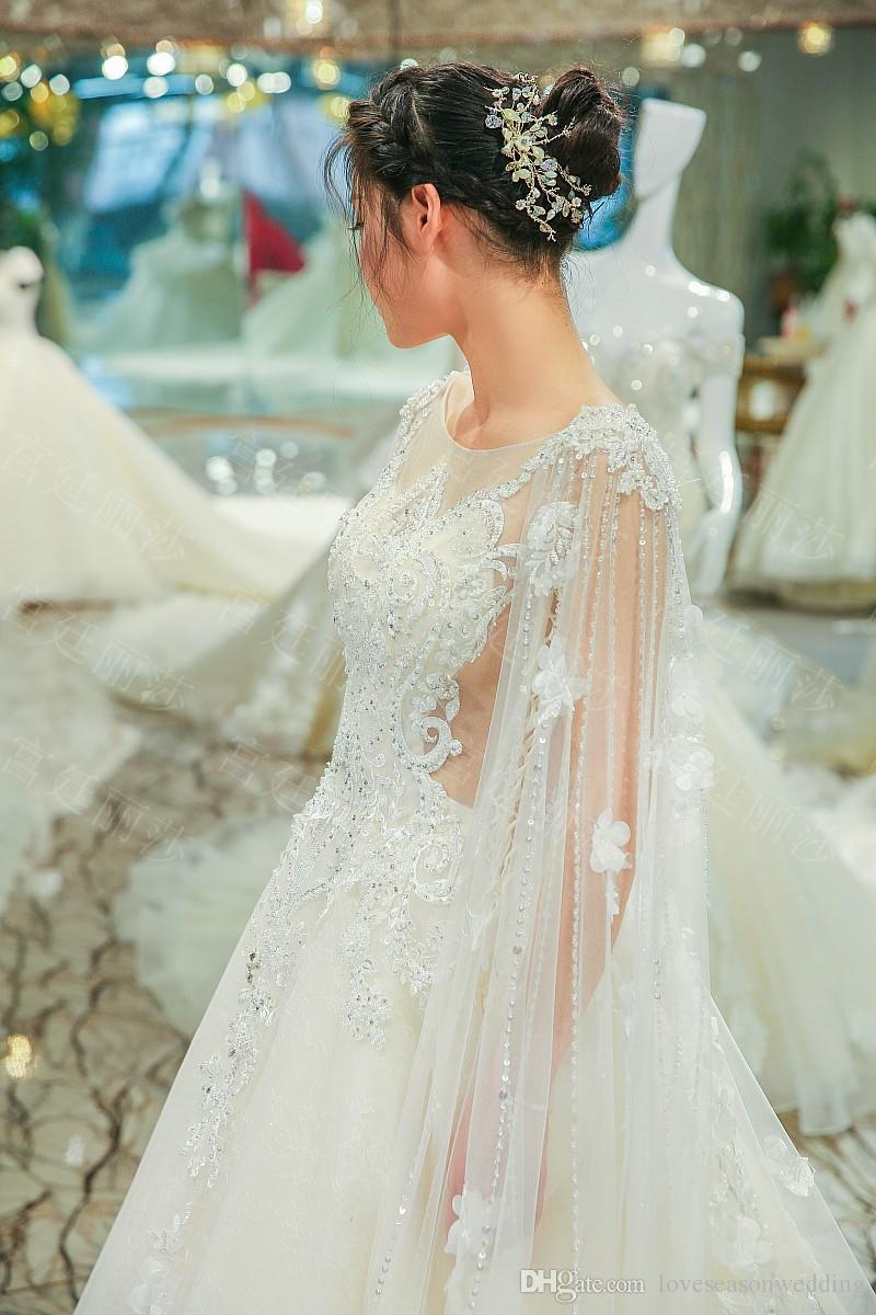 LS00410 cape luxury beautiful decent dresses heavy beaded cap sleeves see through back long train grecian wedding gown
