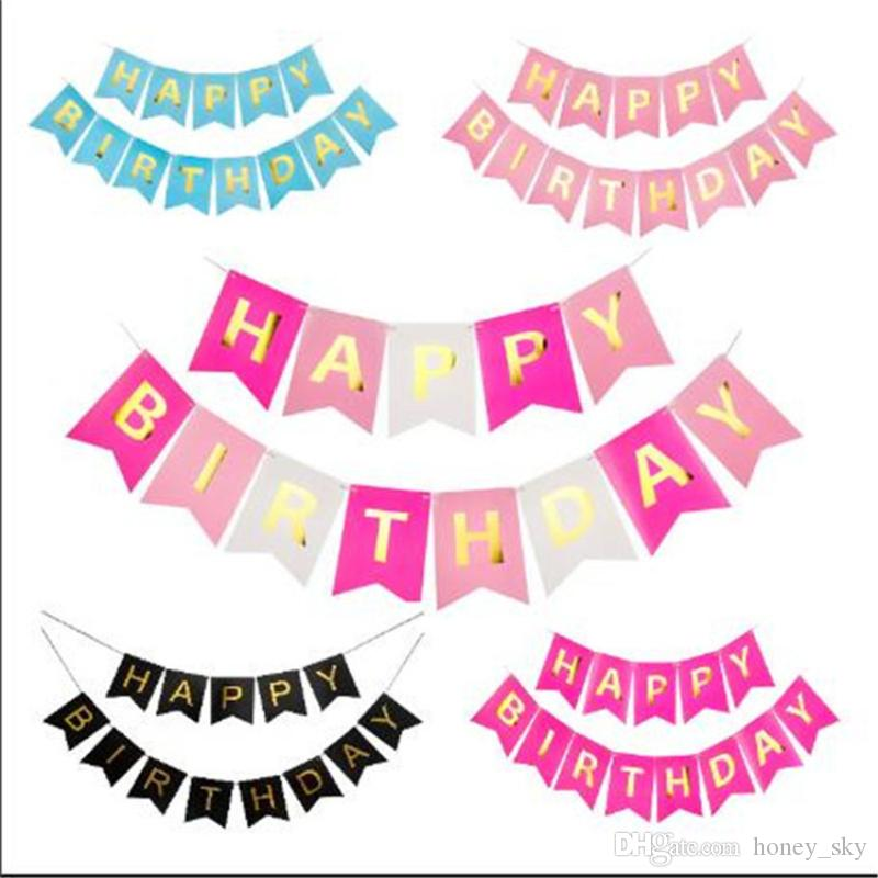 Glitter Paper Birthday Party Hanging Bunting Banner Flag: Glitter Happy Birthday Party Bunting Banner Letter Hanging