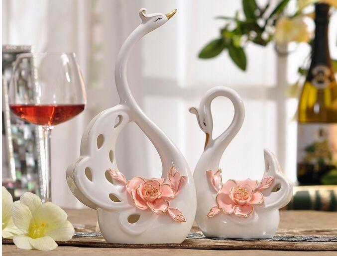 Modern Creative Living Room Tv Cabinet Ceramic Swan Married