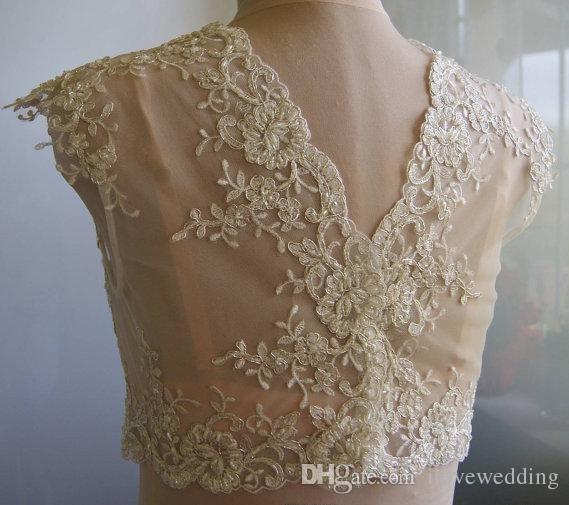 .2015 New Arrival Ivory White Bridal Jackets With Crew Neck Cap Sleeves Appliques Tulle Custom Made Lace Wedding Shrug Bolero Wrap