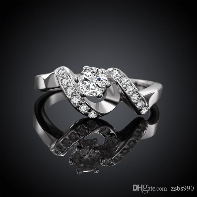 High quality 925 sterling silver swiss CZ Diamond Wedding / Engagement Ring Fashion Jewelry Low Price