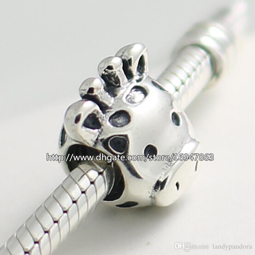 100% S925 Sterling Silver Thread Gorgeous Giraffe Charm Bead Fits European Pandora Jewelry Bracelets Necklaces & Pendant