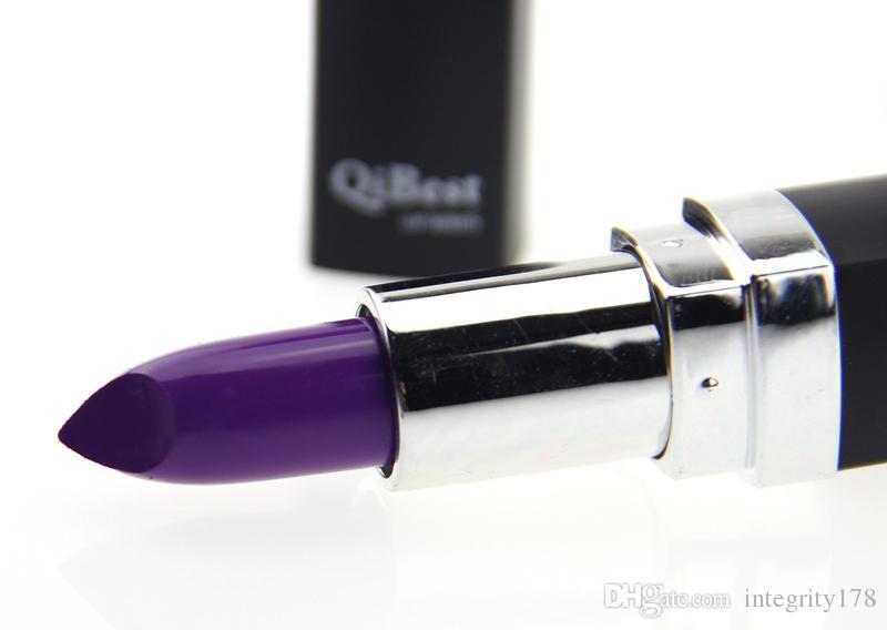 800 stks / partij DHL gratis qibest 12 kleuren lippenstift vampier druif paars donkere zwarte lippenstift vampier stijl matte lipstick comestic schoonheid