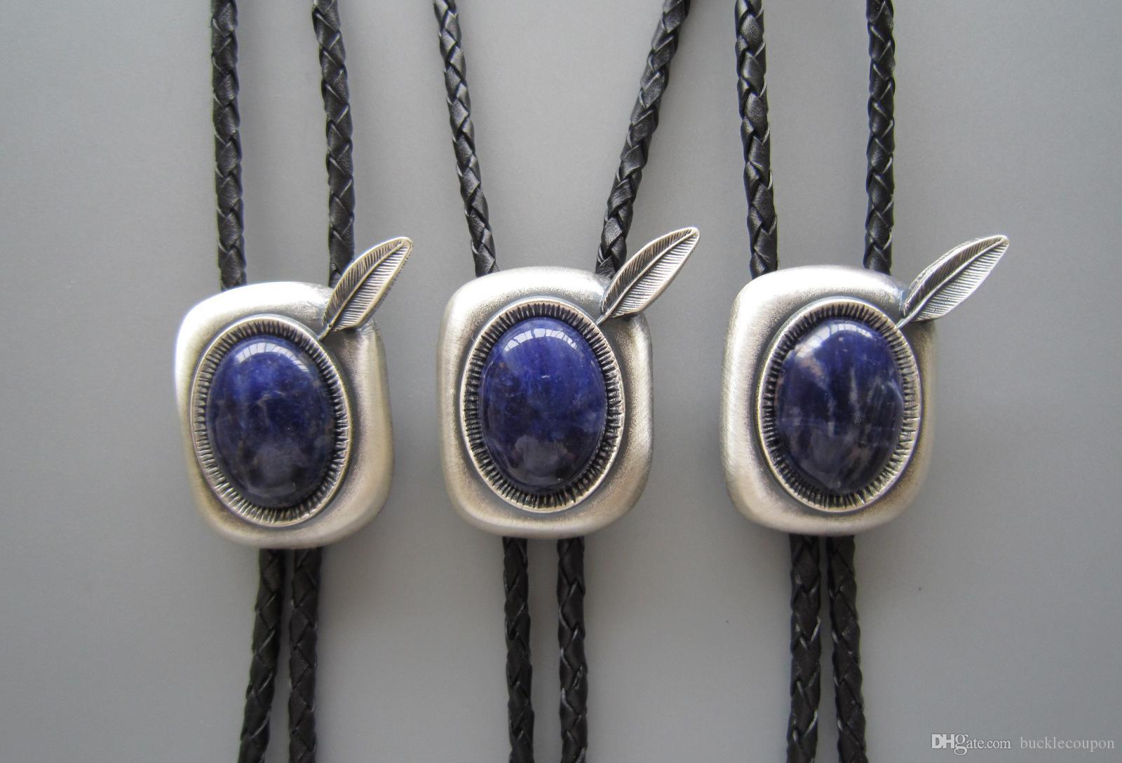 Western Tie Clips لعبة بولو التعادل للرجال من الفضة المطلية باللون الأزرق من plessite Stone