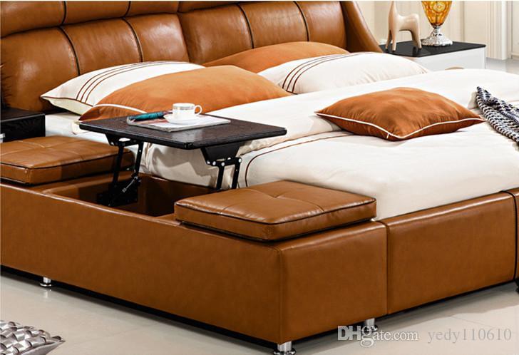 الحرة الشحن اصلية جلد BED LUXURY STYLE GOLDEN FASION بسيط مزدوج شخص QUALITY جيدة 180 * 200CM A86D