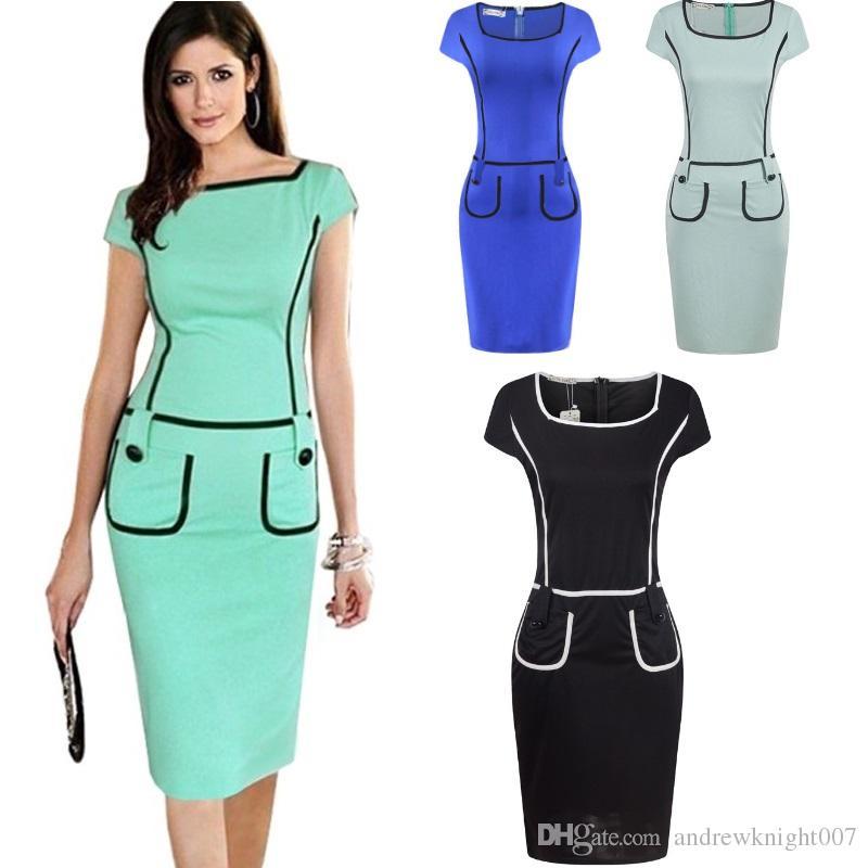 311031b3a3 Women Summer Patchwork Pocket Dress Office Work Wear OL Dress Short ...