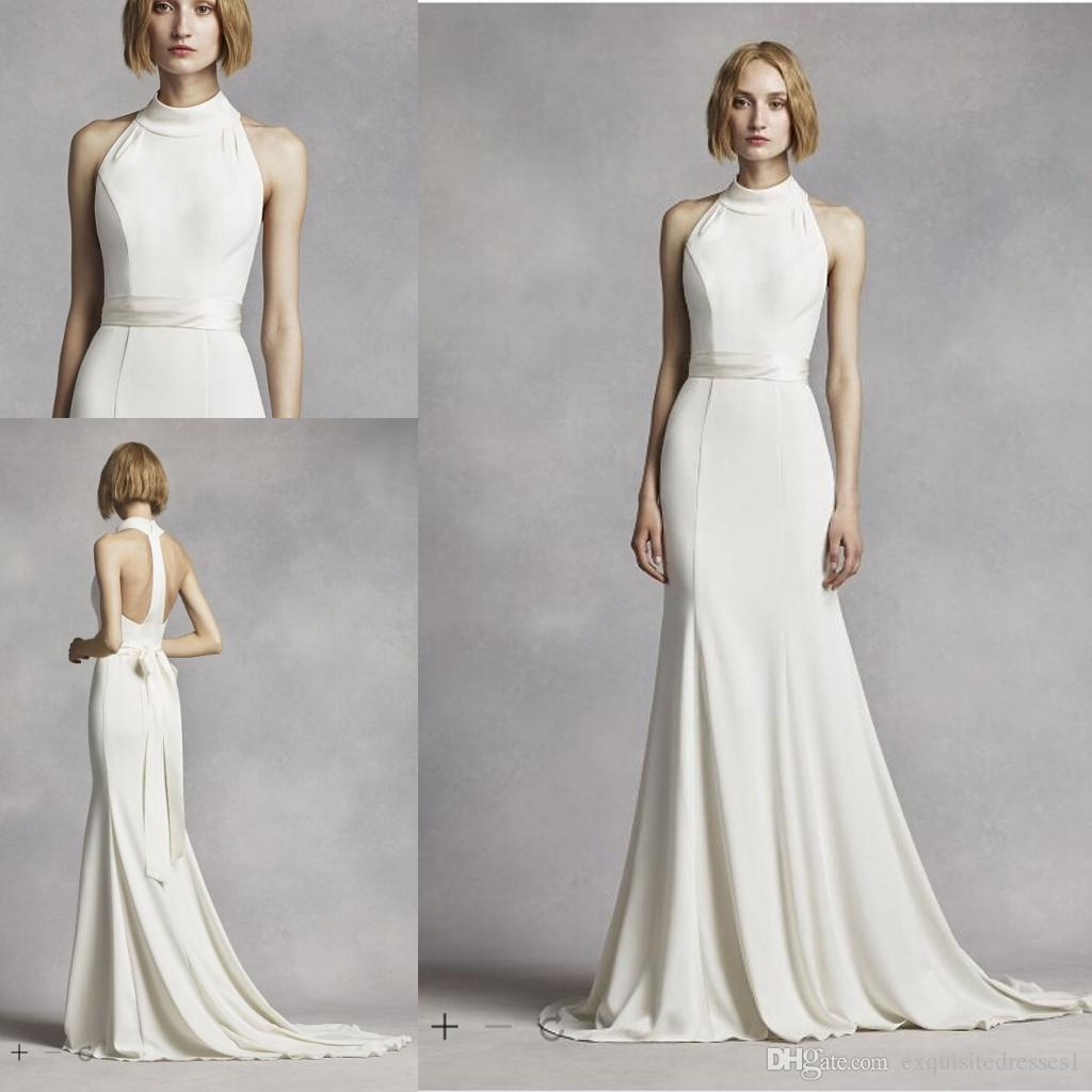 Cheap Elegant Wedding Dresses High Neck Halter Wedding