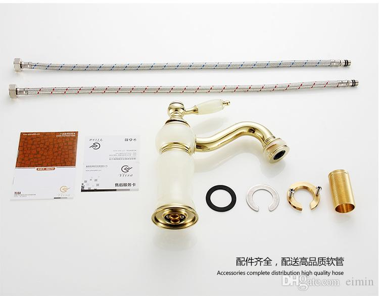 Wholesale and retail Single Handle Sink Mixer Tap Deck Mounted Gold jade zirconium faucet