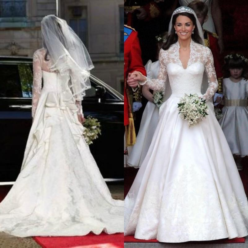 Kate Middletons Wedding Dresses.Stunning Kate Middleton Wedding Dresses Royal Modest Bridal Gowns Lace Long Sleeves Ruffles Cathedral Train Custom Made High Quality Brides