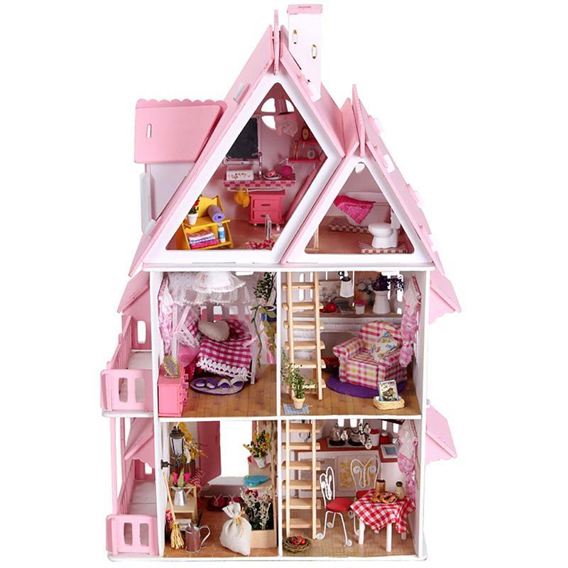 Großhandel Großhandels 3d Diy Puppenhaus Resin Villa Möbel Kit Mini Miniatur  Puppenhaus Spielzeug Modellbau Kit Led Licht Kind Kinder  Geburtstagsgeschenke ...