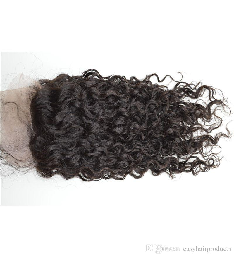 Wet and wavy lace frontal closure 13X4 virgin indian human hair closure with baby hair G-EASY hair beauty frontals
