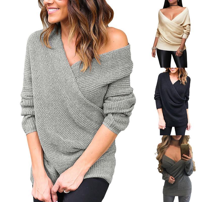 Kersttrui Dames 2019.2019 Wholesale Women Slim Off Shoulder Sweater Pullover 2017 Lady