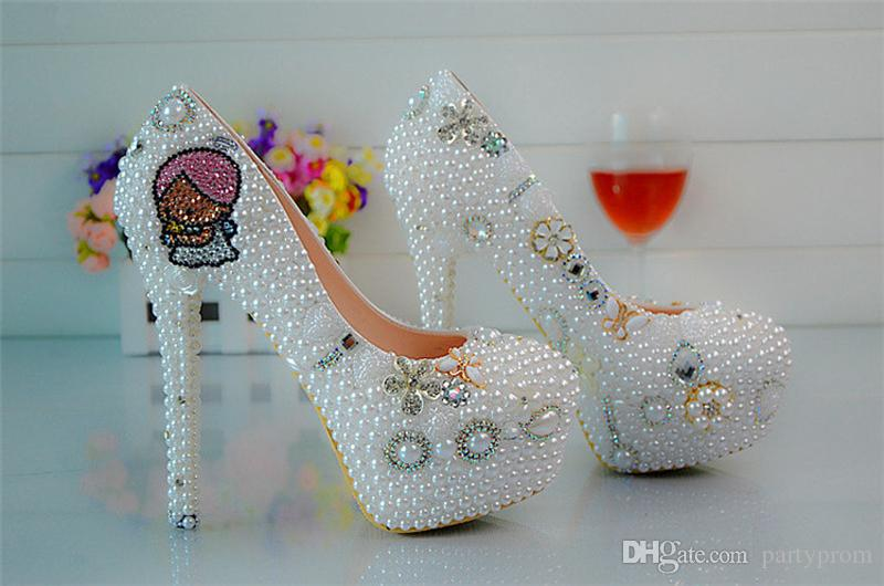 Round Toe Pearls Beaded High Heels Lady's Formal Shoes Women's Beaded Bridal Evening Prom Party Wedding Dresses Bridesmaid Shoes
