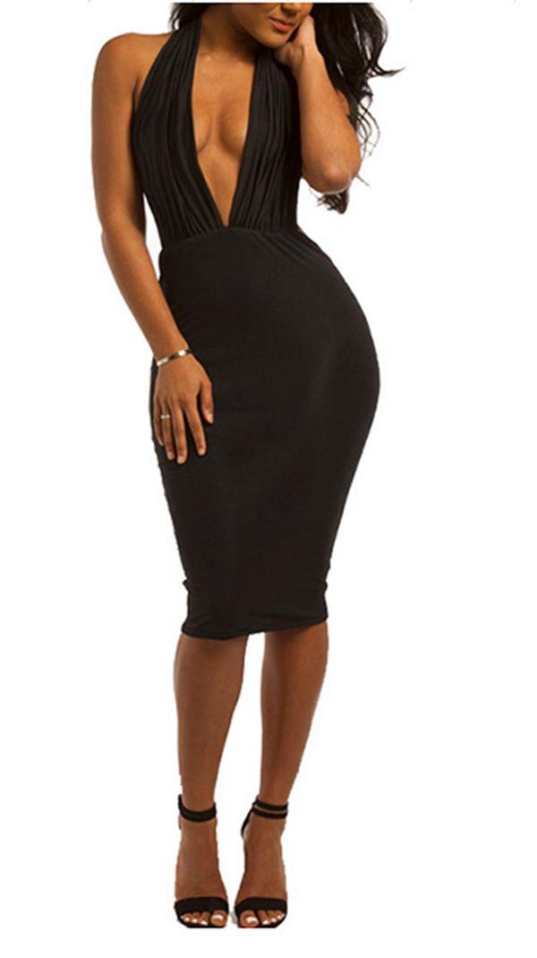 Vestido formal sexy cuello profundo en V Ahueca hacia fuera el nuevo vestido negro Noble poco atractivo Encanto sexy cuello en V profundo sin respaldo del club vestido de partido