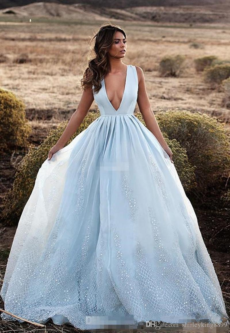 2017 Deep V Neck Prom Dresses Lace Appliques Sequins Sleeveless ...