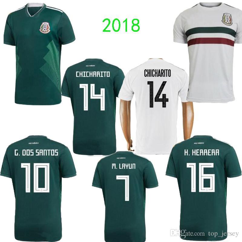 0dc06dca129d1 Nuevo Jersey CHICHARITO Mexico Copa Del Mundo 2018 G.DOS SANTOS Casa Verde  Distancia R.MARQUEZ C.VELA H.HERRERA Calidad Tailandesa Mexico Camiseta De  Futbol ...