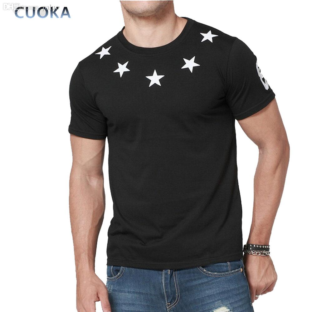 All'ingrosso-Cuoka Brand Clothing Casual hip-hop Uomo Stampa T-Shirt Manica corta O-Collo Stars stampa