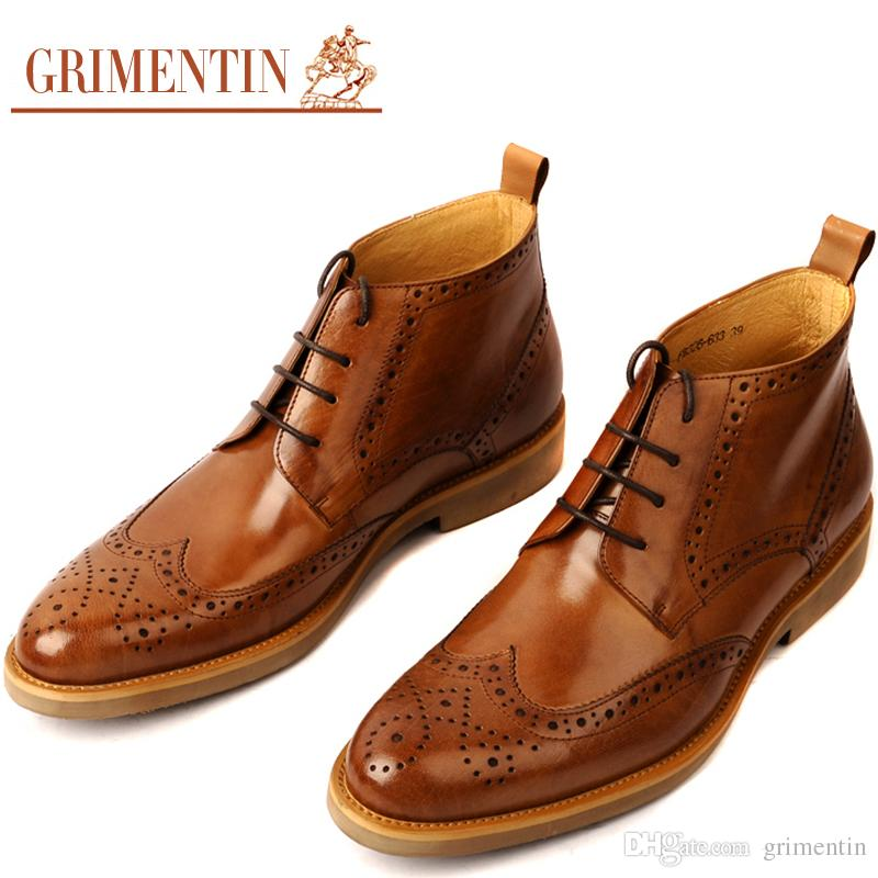 d3902cf499b GRIMENTIN Hot Sale Brand Mens Boots Genuine Leather Vintage Wingtip Carved  Lace Up Dress Men Ankle Boots Fashion Black Orange Male Shoes