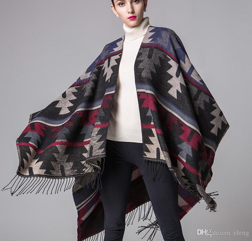 New brand design Bohemian tassel scarf pashmina women's winter warm Scarves shawls female longer thicken wild cape poncho women