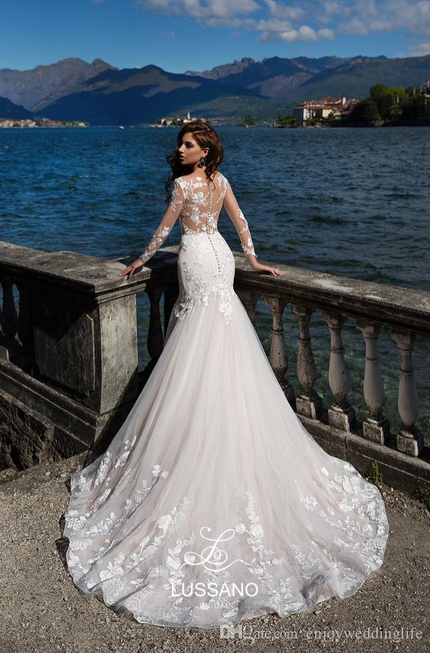 2018 novo lindo branco sereia vestidos de casamento ilusão corpetes sexy sheer mangas compridas vestidos de noiva lace tribunal trem praia vestidos de casamento