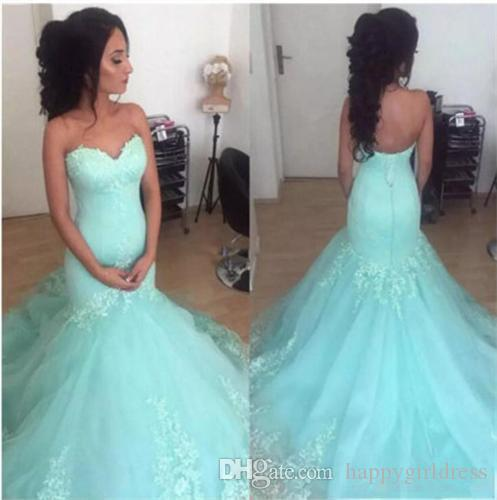 Lace Appliques Tulle Mermaid Prom Dresses 2018 New Arrival Sweetheart Floor Length Evening Party Pageant Gowns