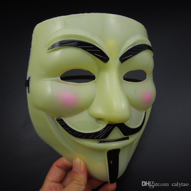 on sale V Mask light yellow Vendetta Mask Super scary film mask Halloween Party Mask mardi gras Costume masquerade party prop