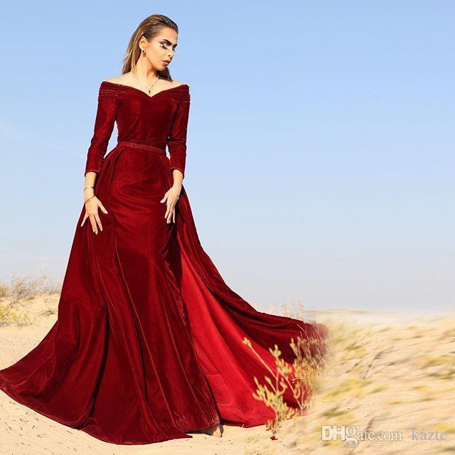 Off Shoulder Mermaid Evening Dresses 2017 Fall V Neck Long Sleeves Velvet Dark Red Plus Size Saudi Arabic Prom Dress Dubai Vestidos
