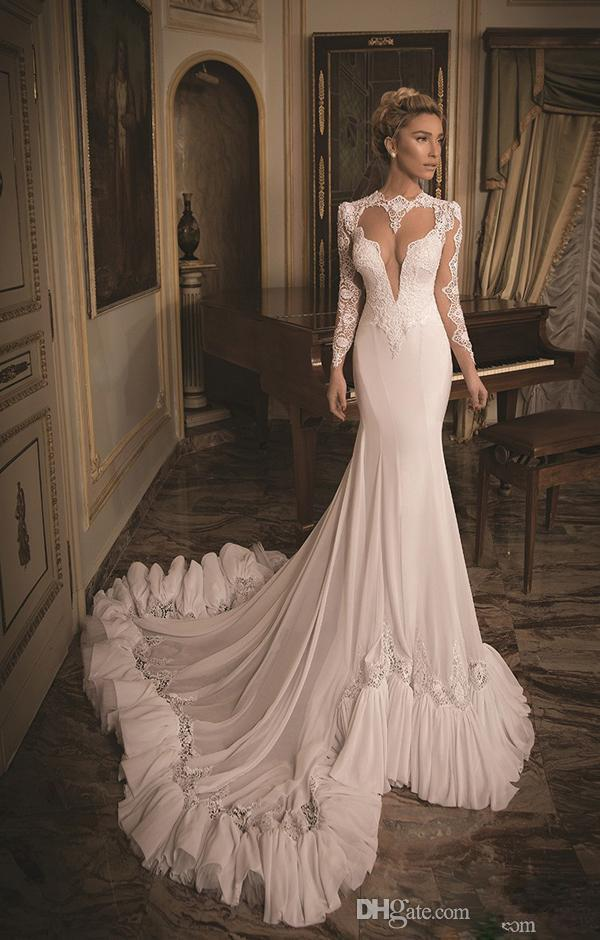 Wholesale 2015 fashionable long sleeves wedding dresses for White fishtail wedding dress
