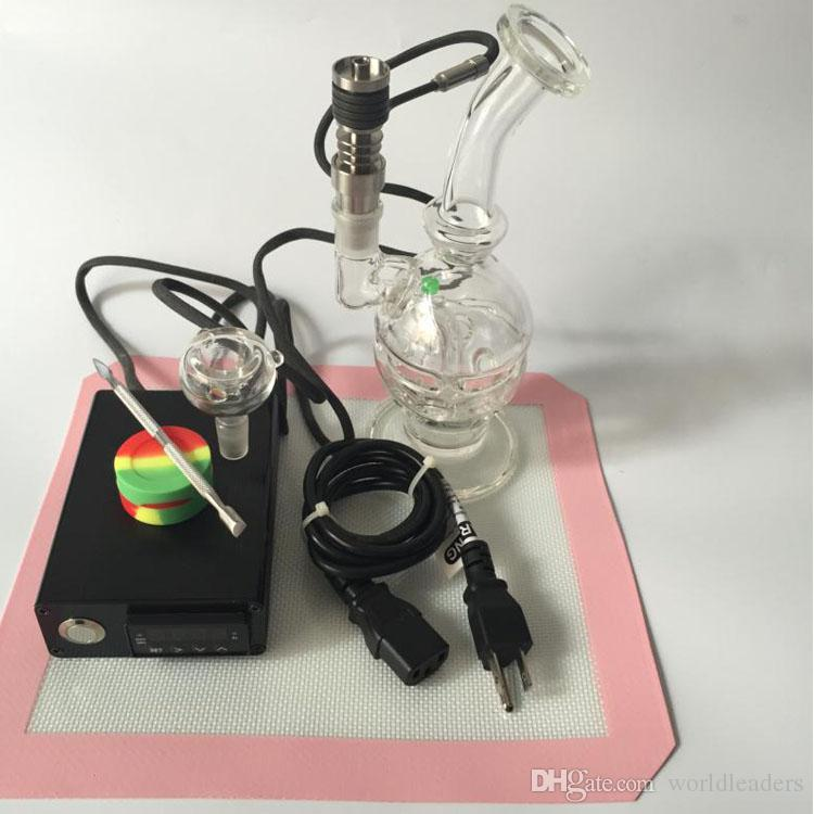 Feminino 14mm Reciclador de Petróleo Conjuntos Plataformas de Petróleo Borbulhador Para DIY Fumaça Bobina de Prego Com Ti Bongo de Prego De Vidro Bong Vapor De Erva Seca Ferramenta kits de esteira