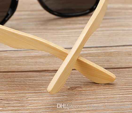 Occhiali da sole in bambù Uomo Donna ridurre l'abbagliamento Protezione al 100% dai raggi UV Lenti a specchio blu Bracciali in legno di bambù Cerniere in acciaio inox
