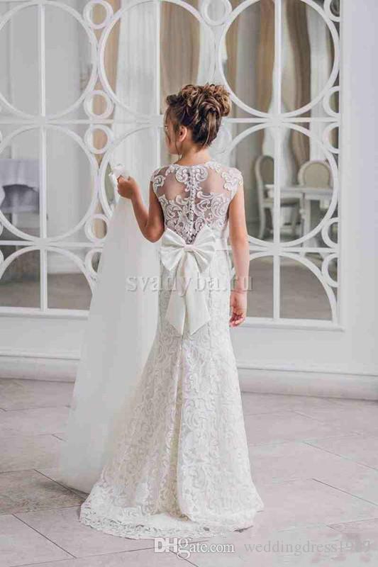 Principessa Sash Lace Girls Pageant Dress Gonna staccabile A-Line 2018 Girl Comunione Dress Bambini Abiti da cerimonia Abiti da sposa ragazze