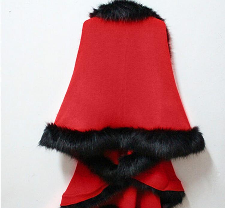 2015 Winter Ladies Coats Long Poncho Faux Fur Big Yards Knitting Wool Cashmere Cardigan Shawls Cloak Female Faux Fox Fur Coats for Women