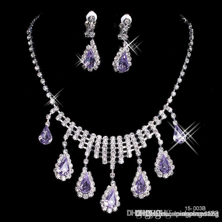 2019 роскошные блестящие элегантные свадебные свадебные выпускные серебристые горный хрусталь хрустальные корки для птиц новое ожерелье и серьги набор