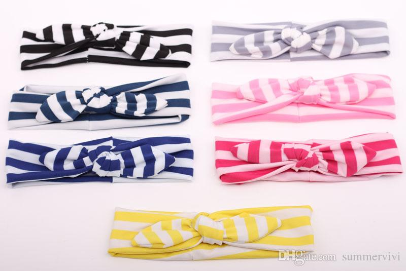 2015 New Hot Striped Baby Hairband Girls Lovely Bow Hair Band Infant Cute Bunny Hare Rabbit Ear Headwrap Children Bow Elastic headband A6402