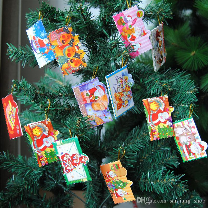 Christmas Decoration Card Printed Xmas Wishing Card Sweet Christmas Tree Ornaments Cards Gift 3 styles hot