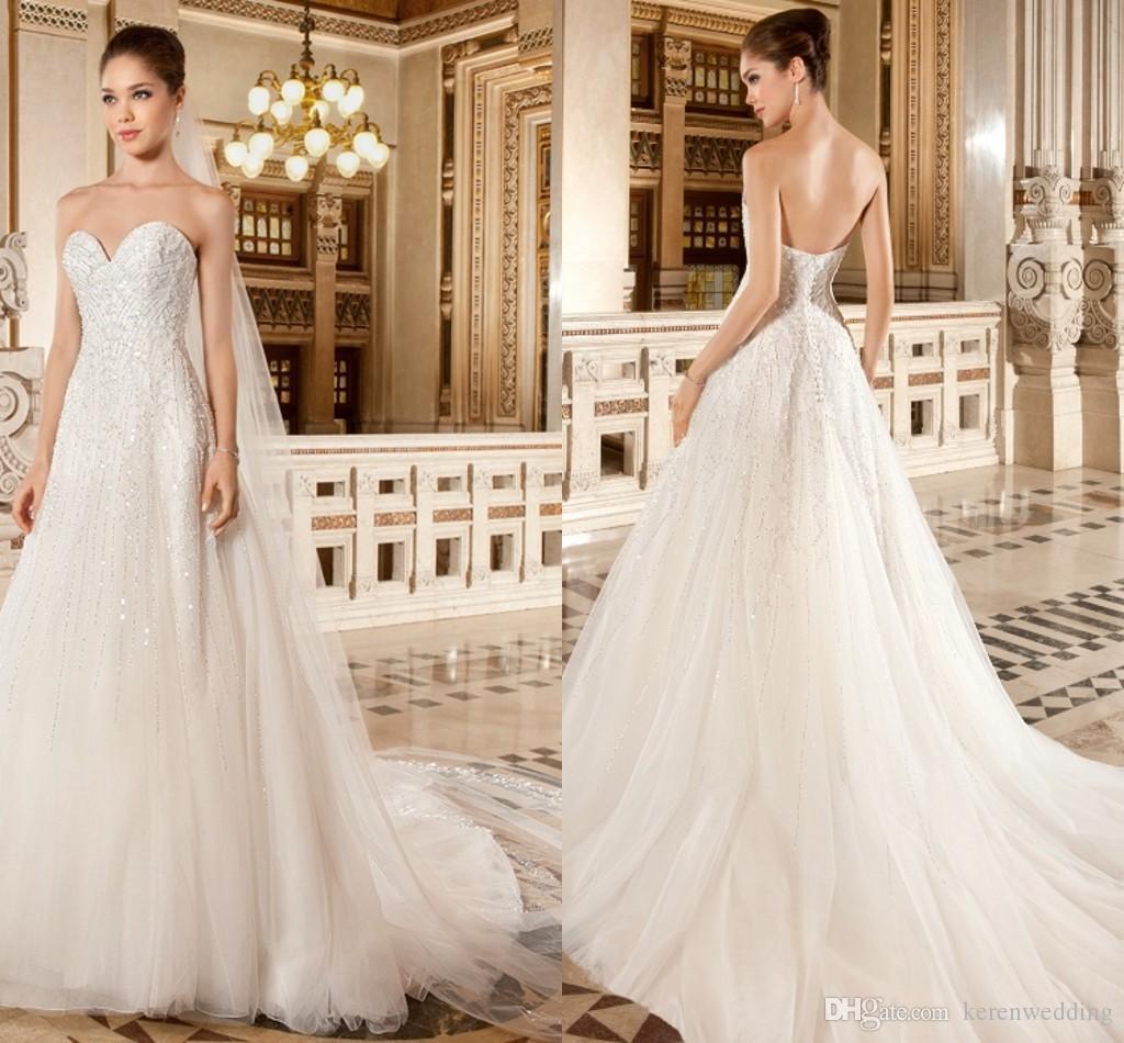 Discount White Tulle 2015 New Wedding Dresses Shiny