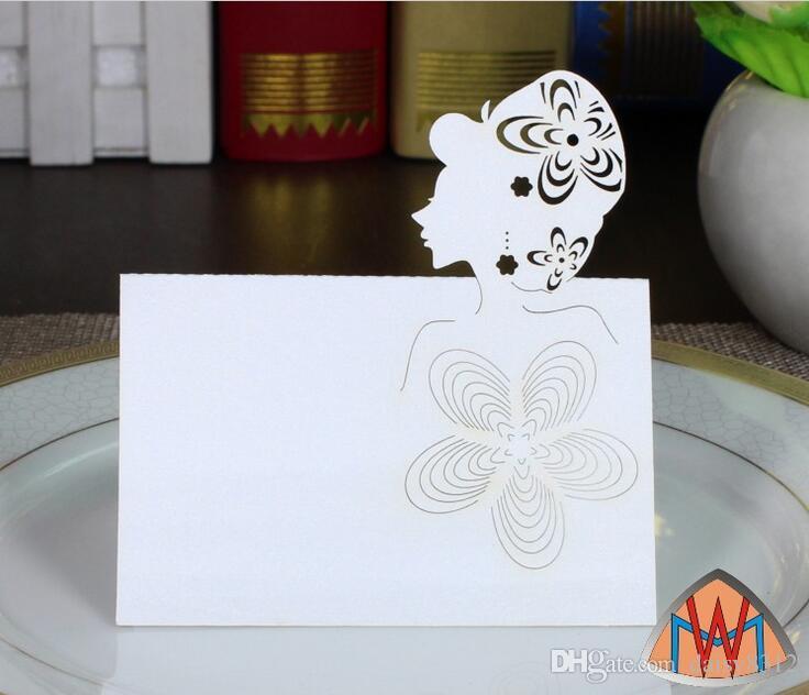 100 adet Lazer Kesim Hollow Gril Kağıt Masa Kart Numarası Adı Kart Parti Düğün Yeri Kart Süslemeleri Için